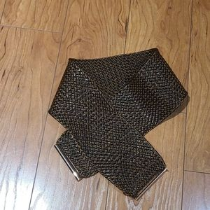 Zara chocolate brown wide woven belt with gold